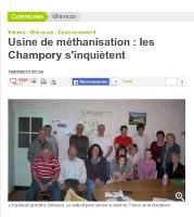 Usine de méthanisation  : les Champory s'inquiètent  (Copie du texte de l'article de la Nouvelle République  du mardi 10 mai 2013)  L'usine de méthanisation de Center Parcs doit s'implanter à proximité de Glénouze. Les habitants s'inquiètent du peu d'information qui leur est donné.  On leur avait promis une réunion d'information pour leur expliquer le projet d'unité de méthanisation avant fin avril. « Aujourd'hui cette réunion n'est pas encore programmée » assure Jacques Denize le maire de Glénouze. Bien que situé sur la commune de Curçay-sur-Dive, le projet impacte principalement les habitants de la commune de Glénouze. C'est de là que la fronde s'organise, lundi ils étaient 16 sur les 114 habitants que compte la commune. « Nous ne sommes pas contre la méthanisation, mais pas là, affirme Quentin Sigonneau à l'initiative de cette réunion. La forêt de Champory est un petit paradis, elle a une histoire, c'est un sanctuaire pour la faune et la flore » ajoute Nicolas Verdon.  Une fromagerie à moins de 500 m  Les anciens se souviennent de ce gigantesque incendie de 1976, avec une usine de méthanisation. Que se passerait-il si cela se reproduit? « On peut faire appel à notre sens civique, mais pourquoi faire ici une usine à gaz pour chauffer la bulle tropicale du Center Parcs, qui n'en veut pas près de son site? » Quel procédé, quels déchets? Comment seront stockés et manipulés les fumiers? Quels personnels pour faire fonctionner cette unité? Des questions sans réponses. « Nous avons l'impression que tout se prépare en cachette avant de nous informer, afin de nous mettre devant le fait accompli. » Des bribes de renseignements ont été glanées de-ci de-là, rien d'officiel. On parle de méthanisation sèche à flux continu (fumier, paille…) mais aussi de déchets alimentaires? Quentin produit des fromages de chèvres fermiers, à Sèmechoux. « Le risque c'est la bactérie clostridium botulinum responsable du botulisme. Cette bactérie peut se répandre sur un rayon de 2 km, ce serait 