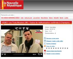 VIDEO. Les Trois-Moutiers (86) : l'usine de méthanisation confirmée à Champory  (Copie du texte joint à la vidéo de la Nouvelle République du vendredi 23 mai 2014)  Description :  Le comité de pilotage pour l'usine de méthanisation du Center-Parcs du Loudunais s'est réuni le vendredi 23 mai 2014, à la mairie des Trois-Moutiers. Il y a été confirmé que le site prioritaire est celui de Champory, au grand dam des membres de l'association Vigie Nuisances.   Vidéo ajoutée le : 23-05-2014 20:44:38 Catégories : Actualité Vienne Mots-clés : center parcs méthanisation champory loudunais trois moutiers vigie nuisances  Langue : Français Lieu de tournage : France / 86000   Adresse de la vidéo : http://videos.lanouvellerepublique.fr/video/cc4f541e275s.html Ajouter cette vidéo sur votre blog ou site web (Copiez/collez le texte HTML ci-dessous) :
